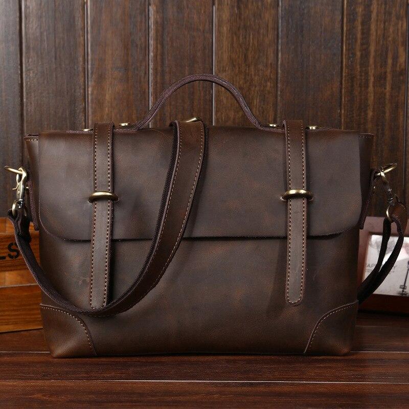 Cow leather handbag briefcase men's messenger bag