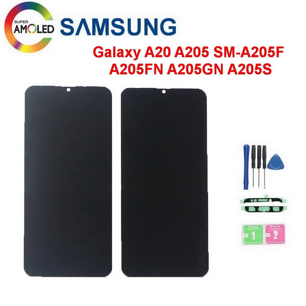 Originele Amolled Voor Samsung Galaxy A20 A205 SM-A205F Lcd-scherm Digitizer Vervanging Voor A205FN A205GN A205S A205 Lcd