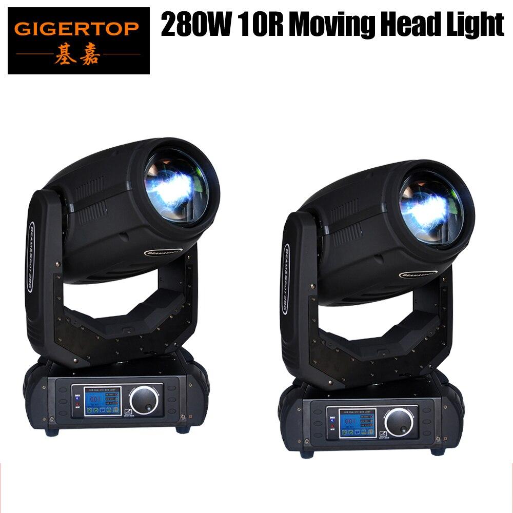 Freeshipping 2 unidade 280 w movente cabeça luz 10r sharpy feixe ponto 2in1 geada lente 8 faceta prisma cor/gobo rodas dmx 16/24 ch