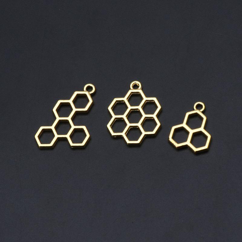 3 piezas de abeja panal DIY colgante con estructura de Metal engaste de biseles abiertos resina epoxi UV joyería