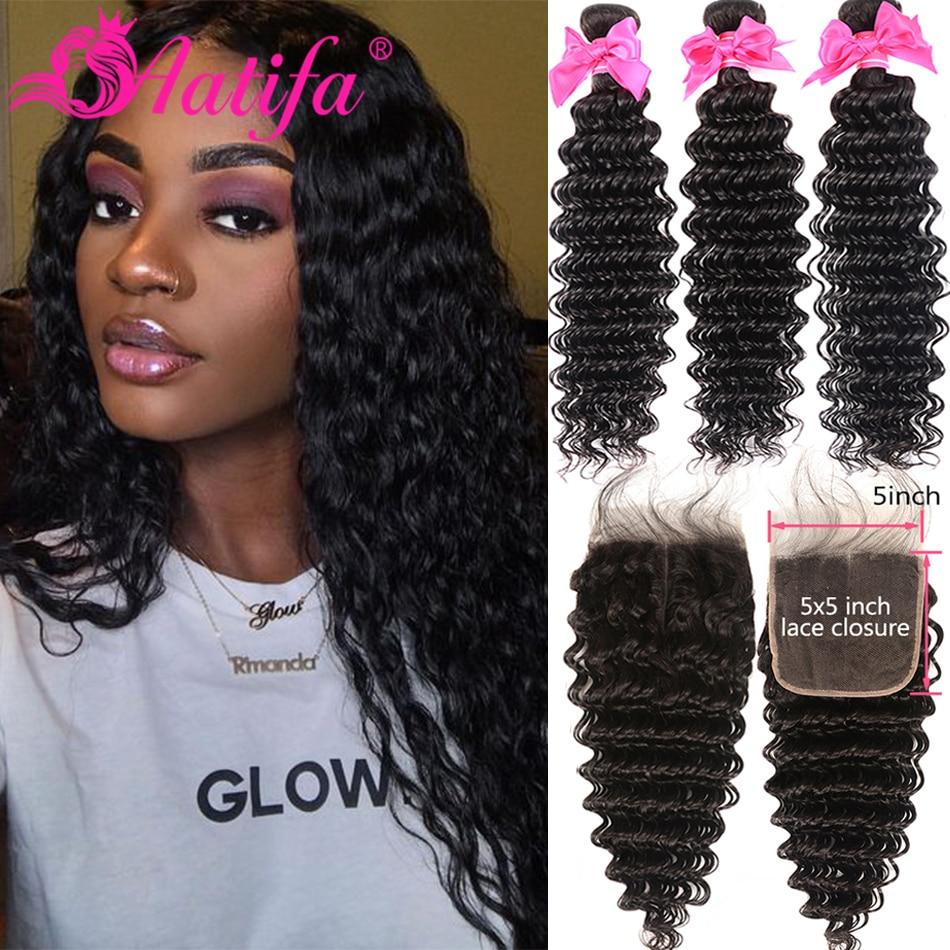 Brazilian Deep Wave Bundles With Closure 5x5 Closure With Bundles Remy 100% Human Hair 3 Bundles With Closure Aatifa Hair