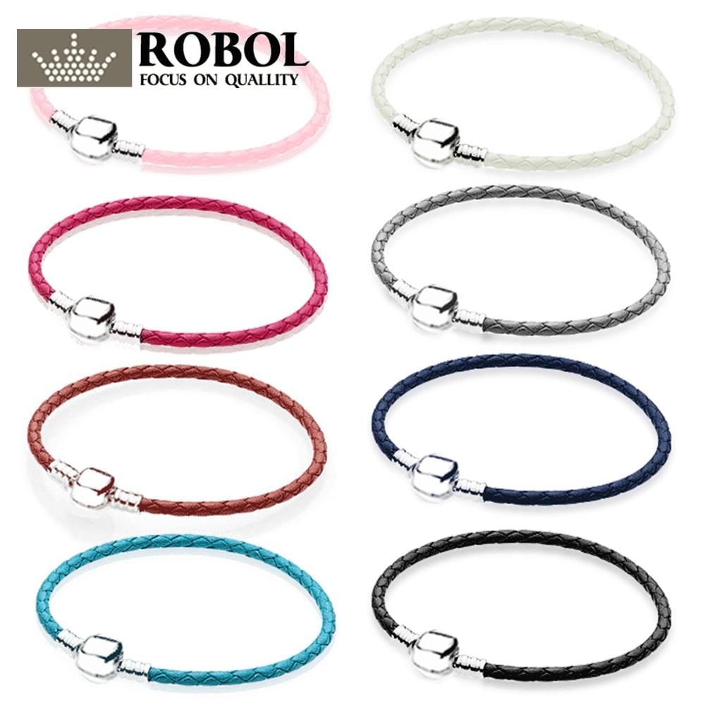 PDB SL 07 100% 925 en argent sterling couple en cuir double cercle bracelet multicolore sélection bricolage cadeau vente directe dusine