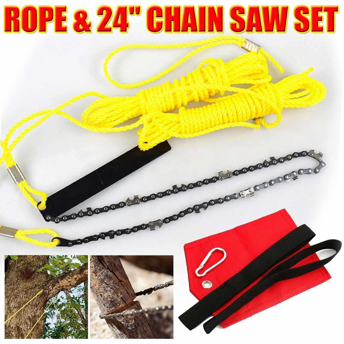"""1 Juego de cuerda para extremidades de alto alcance y sierra de cadena con rama de cadena de 24 """"Sierra para árboles cortador de cuerda herramienta de corte de madera al aire libre"""