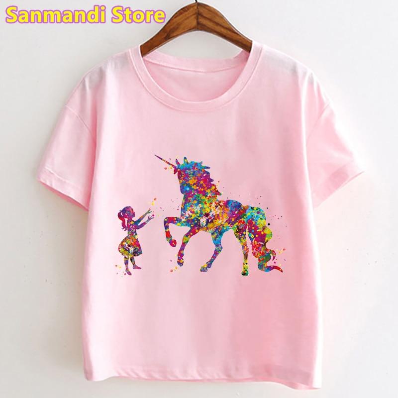 Watercolor Little Girl And Unicorn Print Pink T Shirt Girls Kids Clothes Summer Fashion T-Shirt Children Clothing Streetwear