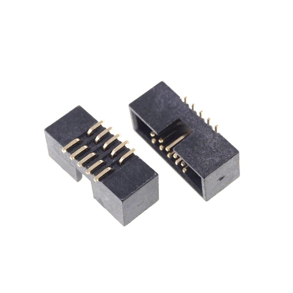 10 pçs smt encabeçamento da caixa 1.27mm 2x5 p 10 pinos fileira dupla macho em linha reta montagem em superfície smd pcb soquete idc masculino