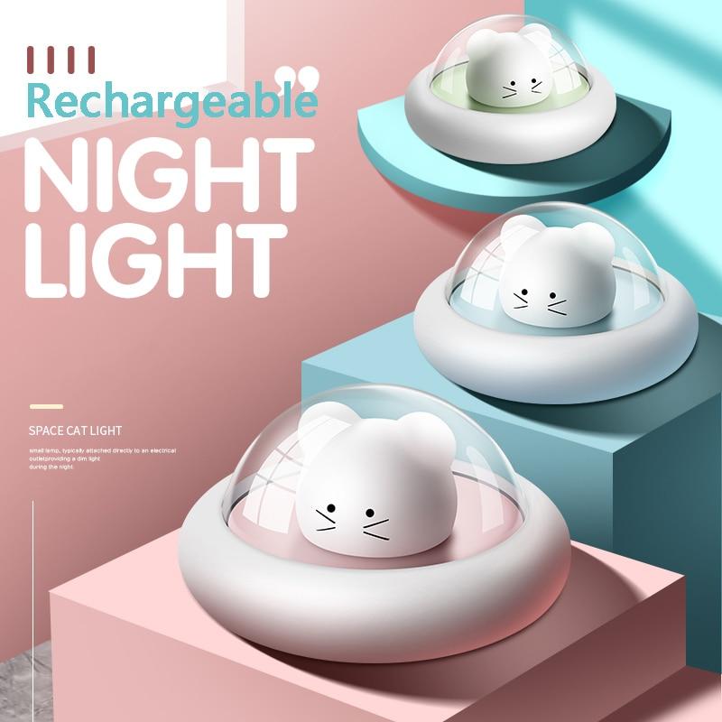 USB Lade Dimmbare Nacht Licht UFO Raum Niedliche Lampe Cartoon Kinder Baby Intelligente Timeable Touch LED Licht