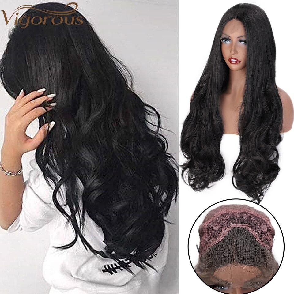 Peluca con malla frontal sintética ondulada de pelo largo negro vigoroso, parte media, para mujer, fibra resistente al calor rubio y gris