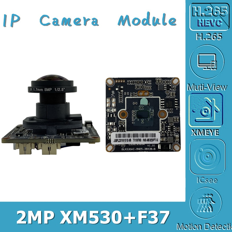 XM530 + F37 2.0MP H.265 IP Cámara Modue tablero 1080P 1920*1080 M12 lente IRC MIC Audio interfaz ONVIF con radiador