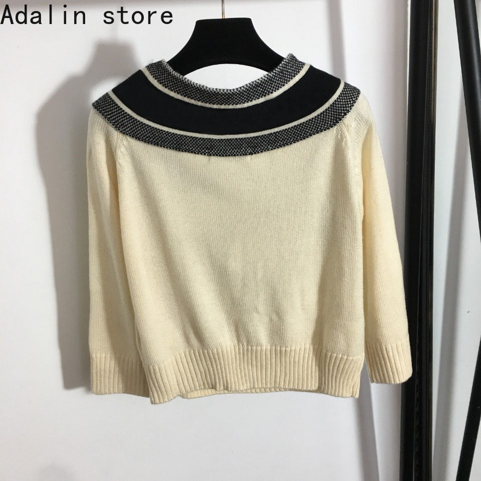 high quality autumn winter new fashion women's contrast lace up collar wool knitted sweater letter jacquard knitted pullover top enlarge