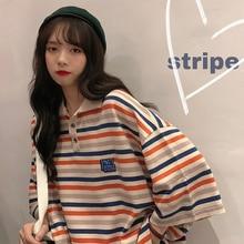 Autumn/Winter Striped Polo Shirt Short-sleeved T-shirt for Women Ins Popular 2021 New Loose Korean C