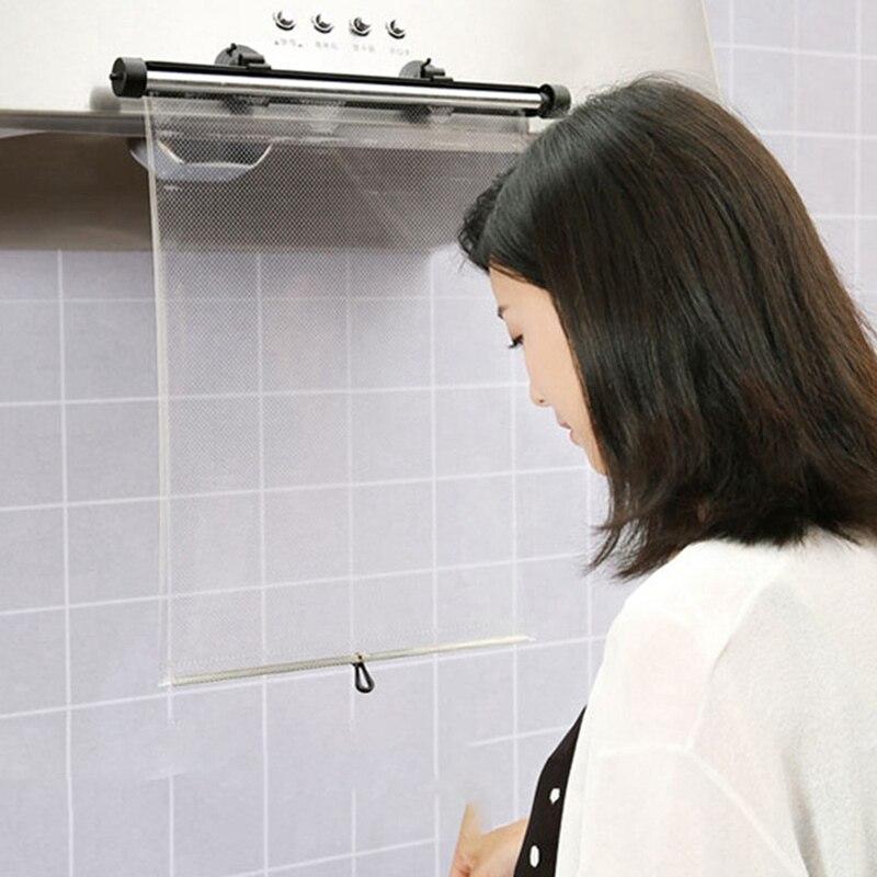 Multifuncional retráctil cocina a prueba de aceite rodillo ciego transparente PVC Material seguro cocina a prueba de aceite rodillo cortina ciega