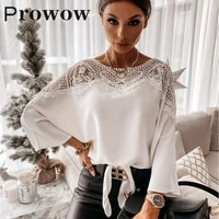 prowow solid lace blouse women spring autumn fashion stitching lace long sleeve shirt batwing sleeve o neck womens clothes
