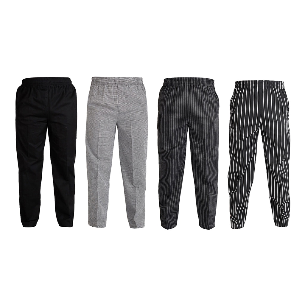 Moda mezcla de algodón restaurante Hotel camarero de café Baker Chef Pantalones uniforme Unisex cómodo