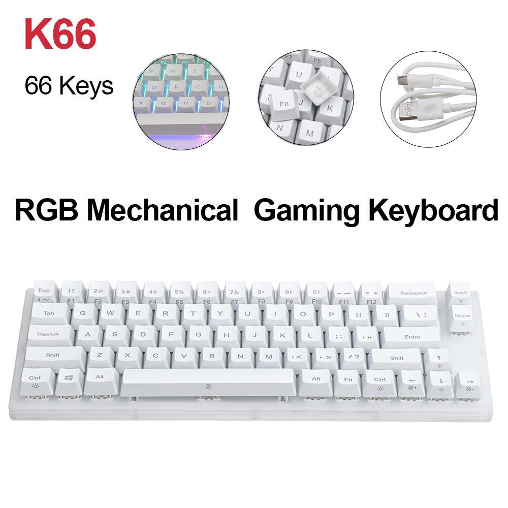 Gamakay K66 Keys Hot Swappable Mechanical Gaming Keyboard Tyce-C Wired RGB Backlit Keyboard Gateron Switch Crystalline Base