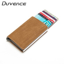 Duvence New Design Credit Card Holder Denim RFID Blocking Men Card Wallet Anti-thief ID CardHolder Alunminum Card Case Purse