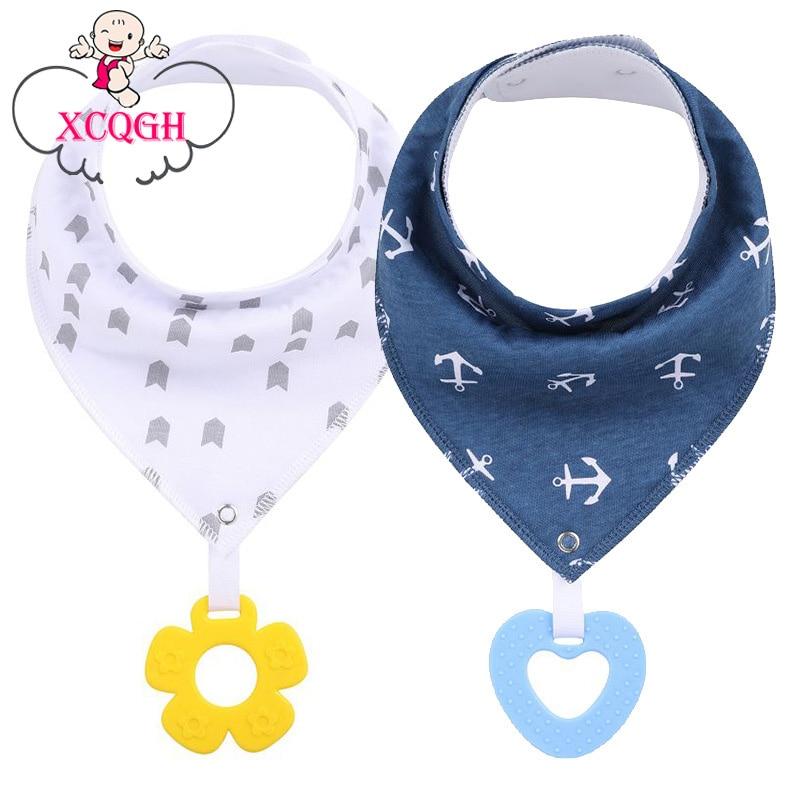 XCQGH 1PCS Baby Bibs with Teether Good Quality Newborn Baby Feeding Products Cotton Apron Burp Cloth