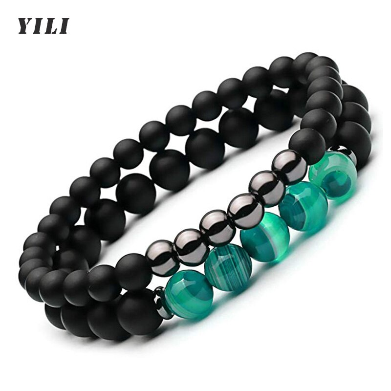 2PCS Striped Agates Matte Black Onyx Beaded Bracelet Elastic Rope Natural Stone Hematite Bracelet fo