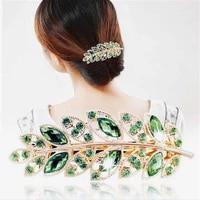 1pcs fashion metal leaf shape hair clip rhinestone barrettes crystal pearl hairpin barrette color feather hair claws