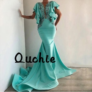 Turquoise Satin Deep V Cap Sleeve Evening Dresses Mermaid Ruffle Special Occasion Party Dress robe soiree Prom Gown
