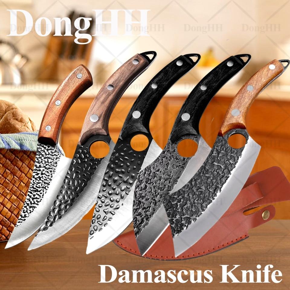 Дамаск из нержавеющей стали кухонные ножи с футляром профессиональный ручной работы мясной Кливер кованый нож инструменты для готовки