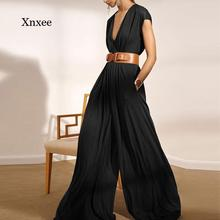 Summer Women's Sexy Sleeveless Deep V-Neck Casual Jumpsuit 2021 Wide Leg Pants Jumpsuit Spring Fashi