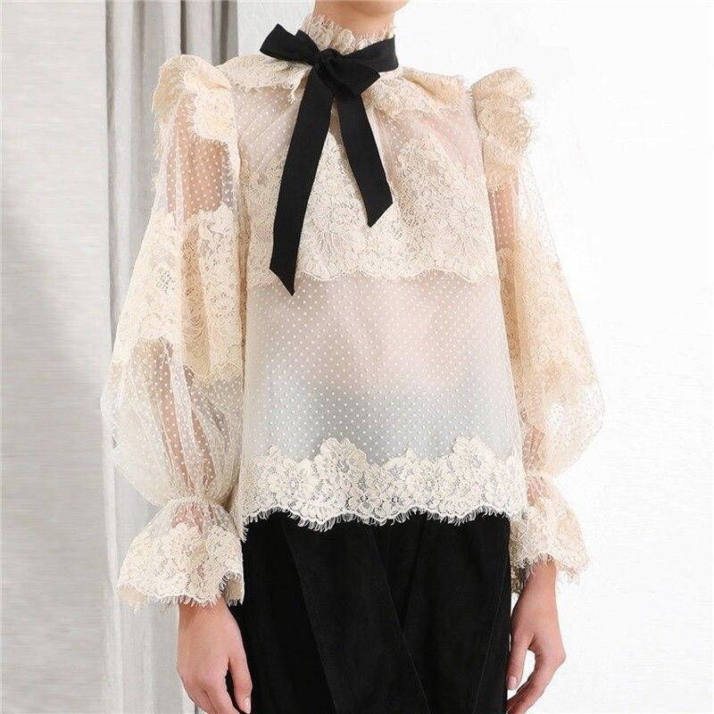 2019 outono polka dot bege blusa de renda feminina gola arcos lanterna manga perspectiva sexy blusa feminina camisas