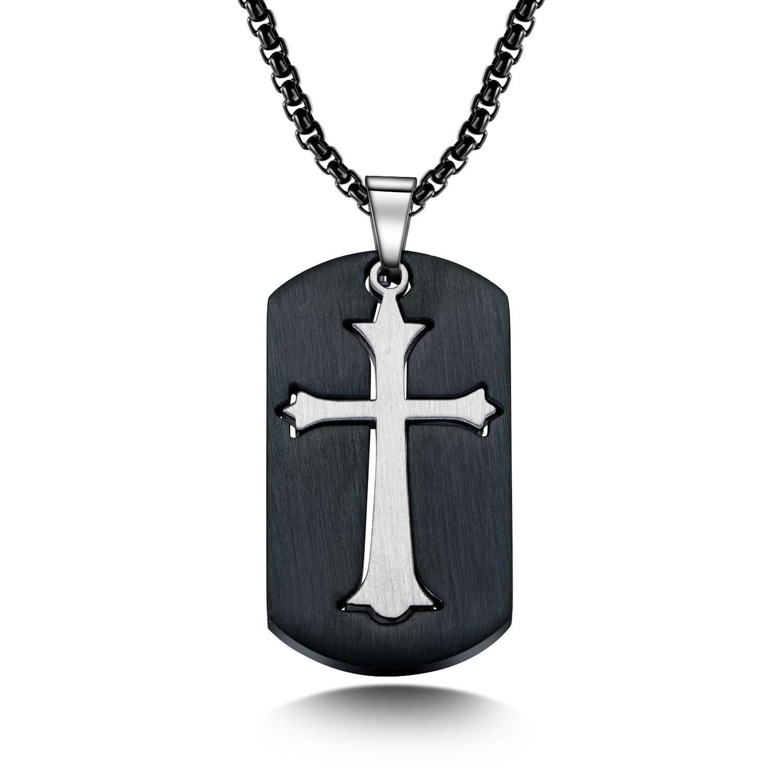 Collar negro Dag etiqueta Colgante Cruz Dios para hombres Acero inoxidable joyería cristiana religiosa masculina