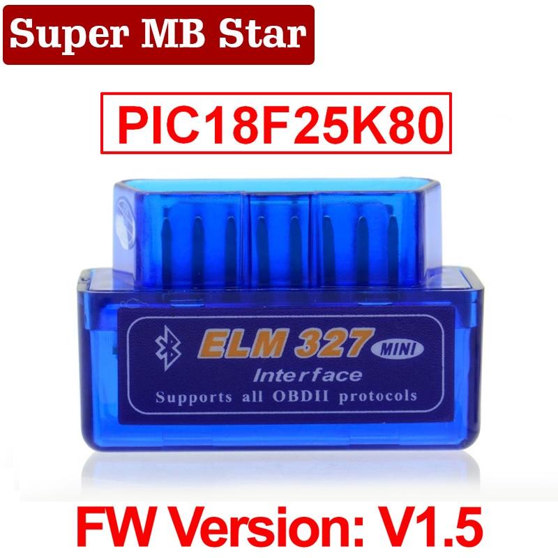 original v1 5 elm327 bluetooth adapter pic18f25k80 eml327 obd2 1 5 for android pc works with forscan elm 327 obd2 1 5 in russian Super MINI ELM327 Bluetooth V1.5 ELM 327 Version 1.5 With PIC18F25K80 Chip OBD2 OBDII for Android Torque Automotive Code Scanner
