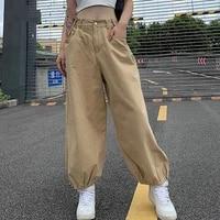 autumn wide leg pants fashion khaki oversized pants hip hop style loose adjustable waist drawstring pants street trend pants