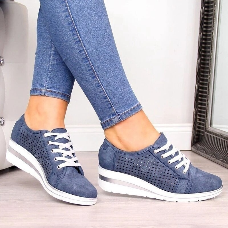 Women Sport Shoes Female Hollow Out Breathable Wedge Lace Up Casual Pumps Shoes