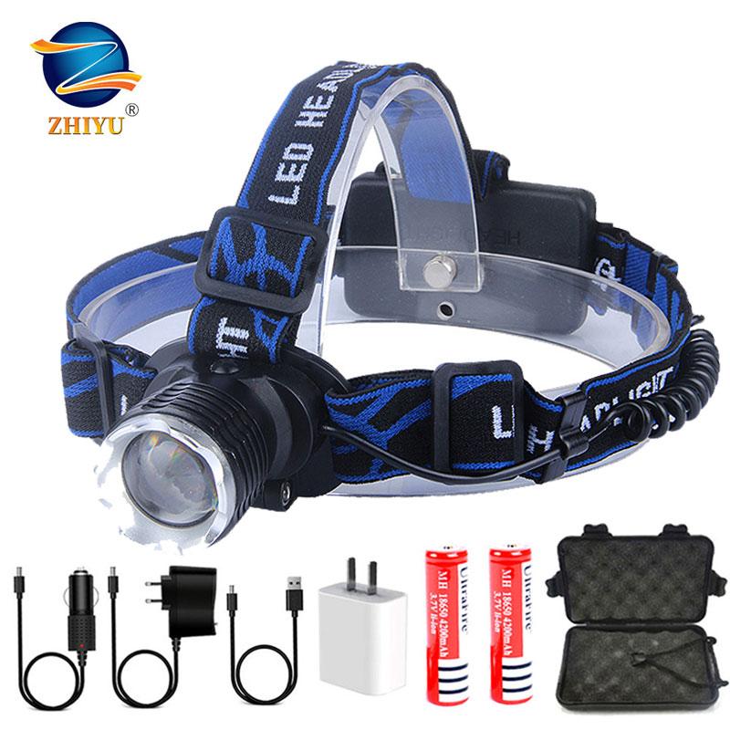 ZHIYU Ultra brillante LED lámpara de mano 3 modos DC recargable faro T6 pesca cabeza lámpara bicicleta linterna Zoom 18650 cabeza de luz