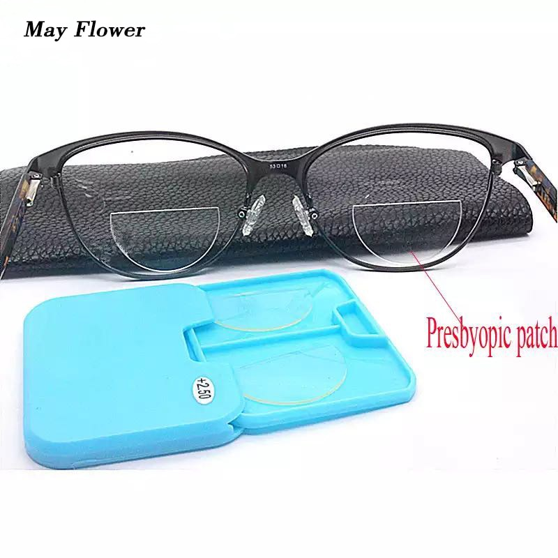 May Flower Magnification Reusable Bifocal Lenses Liquid Silicone Bifcoal Lens Stick-on Glasses Presbyopic For Men Women
