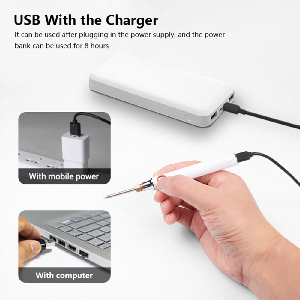 professional usb charging soldering iron 5v 8w adjustable temperature electric soldering iron kit with stand soldering wire USB Soldering Irons 5V 8W Adjustable Temperature Electric Soldering Iron Kit with Usb Soldering Iron Type C