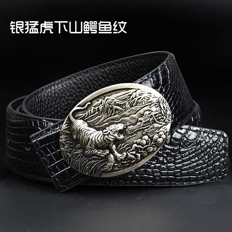Фото - Men's Tiger buckle Crocodile pattern belt Personalized Dragon buckle Punk retro style Fashion high-grade luxury Belt crocodile style