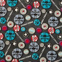 1 yard Skull, circle, star  Cotton Woven Fabric