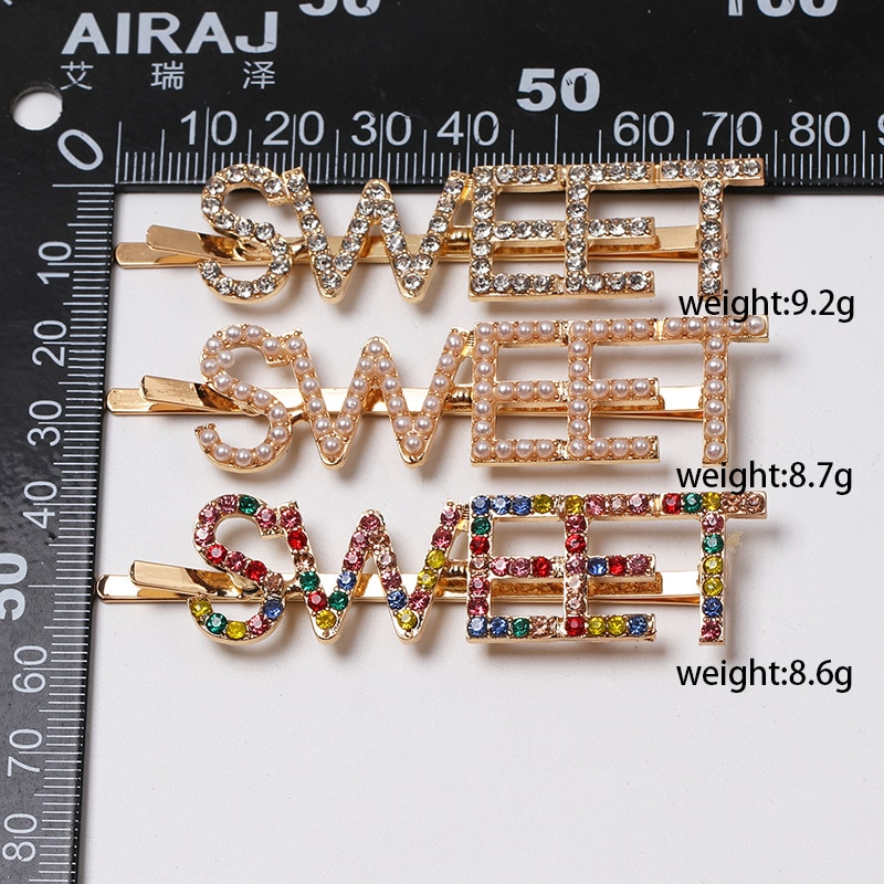 Fashion Crystal Letter Hair Clip Pearl Metal Hair pin Barrette Hairpins Hair Styling Tool Bobby Hair Clips for Women Girl