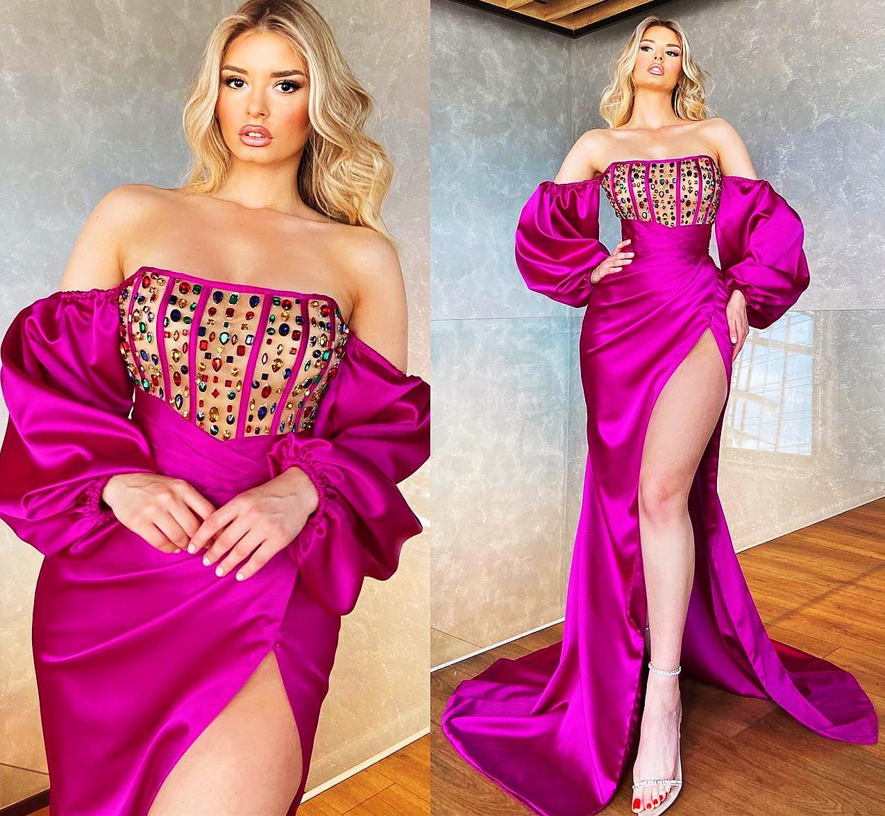 Fuchsia Plus Size Arabic Aso Ebi Sexy Mermaid Prom Dresses Crystals High Split Long Sleeves Satin Ev