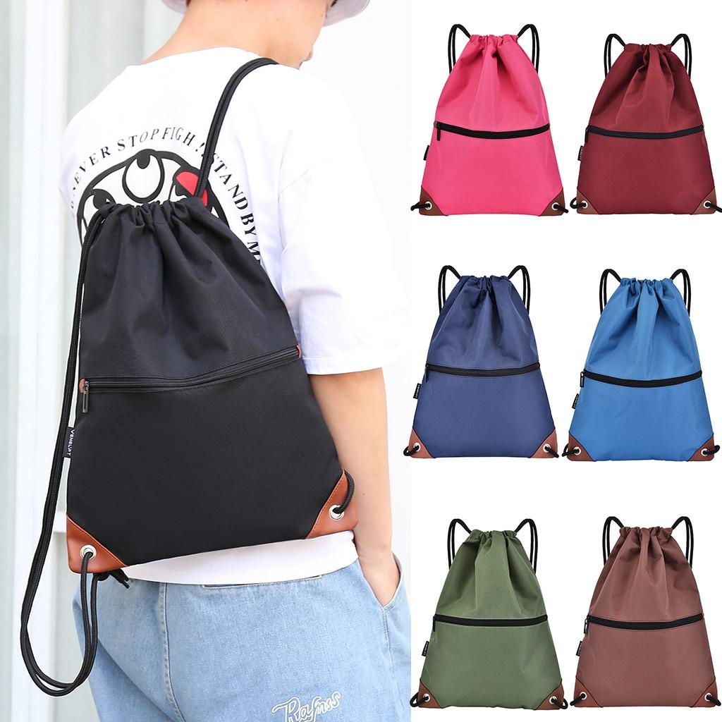 5 # mulheres e homens moda unisex impermeável sólido colorsbundle corda esporte mochila sacos de escola