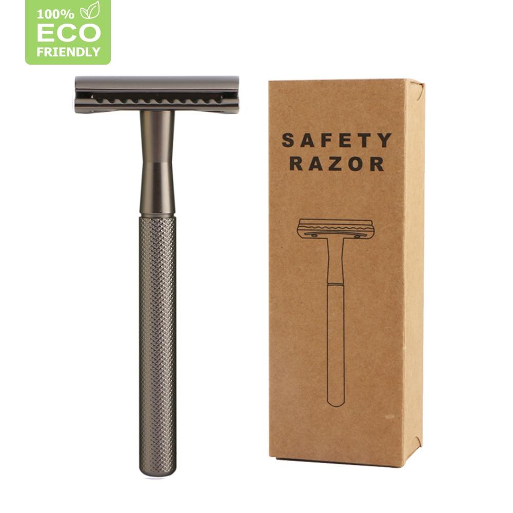 Edieu Double Edge Safety Razor Shaving Razor With 20 Shaving Blades Reusable&Plastic Free For Men&Women Classic Manual Metal