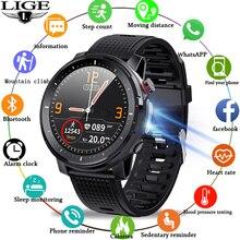 2021 LIGE IP68 Waterproof Smart Watch Men ECG Heart Rate Blood Pressure Monitor LED Flashlight Sport