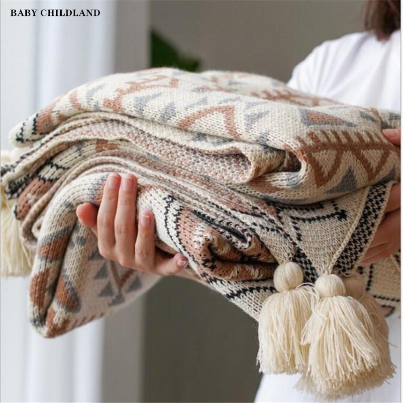 Вязаное одеяло 150 см, мягкое шерстяное покрывало для кроватки, коляски, плед с кисточками, одеяло из шерпы для путешествий, дивана