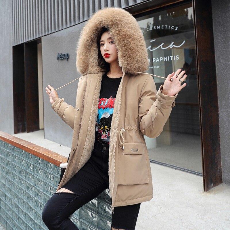 FTLZZ جديد الشتاء النساء أنيقة كبيرة الفراء طوق مقنعين سترة قطن جيب عادية الصلبة سماكة الثلوج أبلى