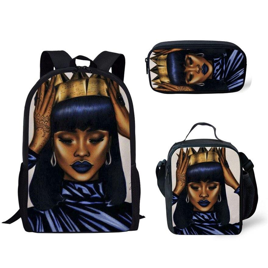 3pcs/set Black Queen African Girls Printing School Bags for Kids Primary Schoolbag Children Large Capacity Book Bag