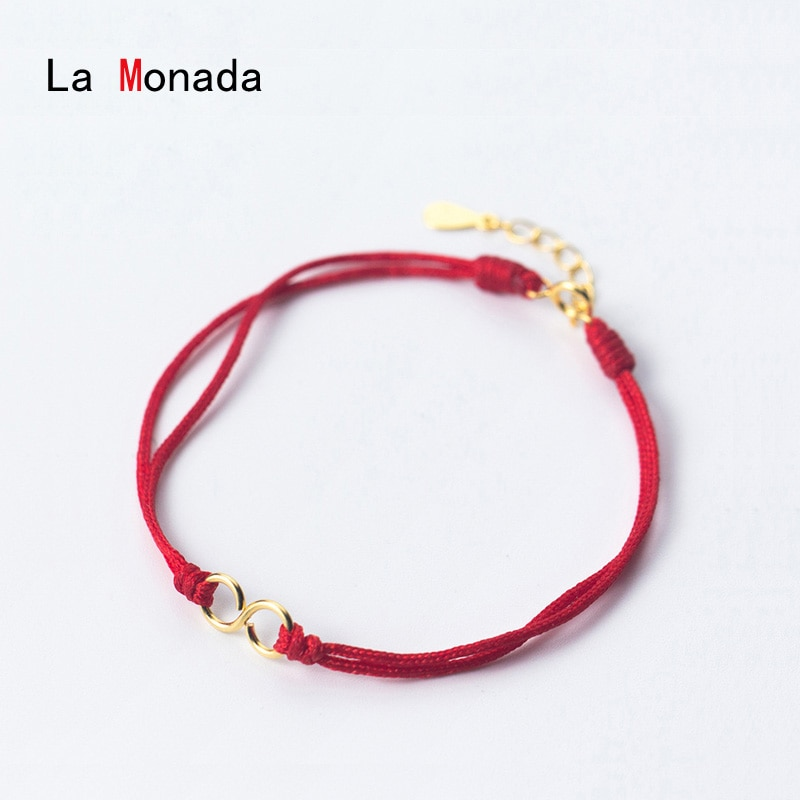 La Monada Eight Red Thread On Hand 925 Sterling Silver Bracelets For Women String Silver 925 Women Bracelet Red Rope Bracelet