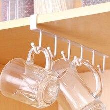 Support de verre en fer noir/blanc   6 crochets, support de verre suspendu, cintre de salle de bains, organisateur de cuisine, armoire, étagère de porte, support de rangement retiré, déco de la maison