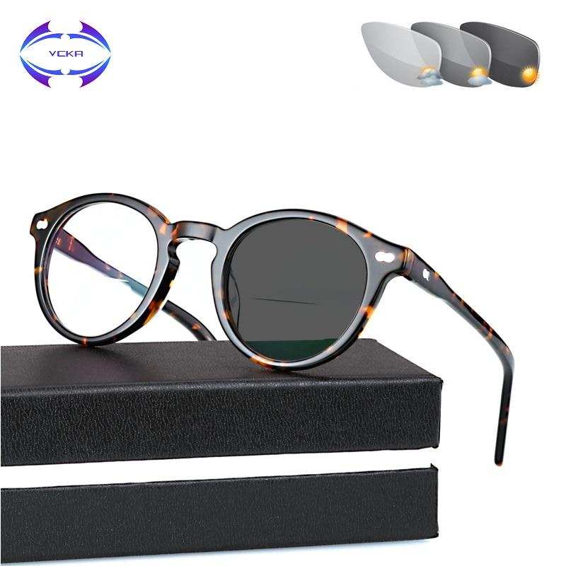 Gafas de lectura fotocromáticas VCKA Multifocus progresiva Far and near acetato marco decoloración presbiopic parasol para lentes