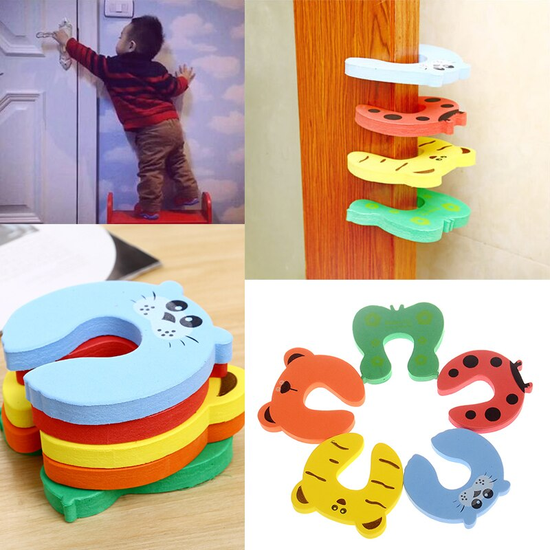 1PC Cartoon Nontoxic Protection Lock Card Environmental Door Stop Finger Protector Pinch Guard For Baby Kids Children Safety