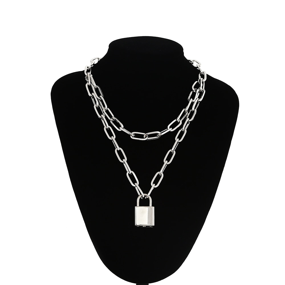 Lock Chain Necklace With A Padlock Pendants For Women Men Punk Jewelry On The Neck 2020 Grunge Aesth