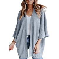 women cardigan autumn winter casual loose knitted long cardigan lady 34 length bat sleeve tops female solid color sweater coat