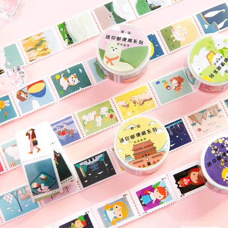 25mm * 5m Mini Post Office serie Kawaill creativas pegatinas forma Washi cinta calcomanía decorativa para diario pegatinas